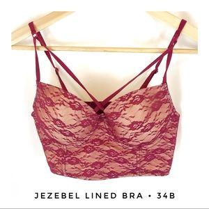 Jezebel Women's 34B Lace Bra Lined Burgundy Beige